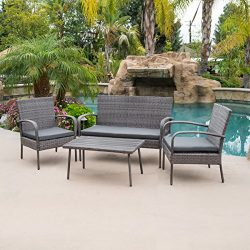 Belleze 4 Piece Wicker Outdoor Patio Set Water Proof Fabric Cushions Outdoors Backyard 2 Chair W ...