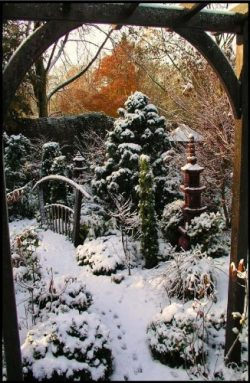 Snowy Garden Framed with Pergola – Etched Vinyl Stained Glass Film, Static Cling Window Decal