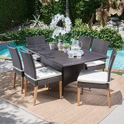 Santa Monica Outdoor Rectangular 7 Piece Multibrown Wicker Dining Set with Beige Water Resistant ...