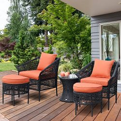 TANGKULA 5 PCS Patio Rattan Sofa Ottoman Furniture Set Outdoor Garden Lawn Wicker Rattan Convers ...