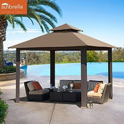 EliteShade 12×12 feet Titan Outdoor Garden Backyard Gazebo With Sunbrella Fabric (Cocoa)