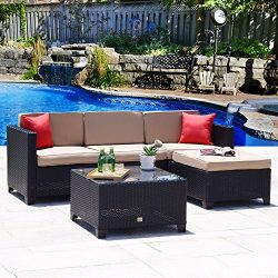 Cloud Mountain 5PC Rattan Wicker Sofa Set Cushioned Sectional Conversation Set Outdoor Garden Pa ...