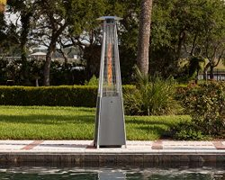 Golden Flame True Commercial (Propane) Hammered Bronze 3-Sided Pyramid Style Quartz Tube Patio H ...