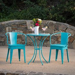 Leona Outdoor Iron 3 Piece Bistro Set (Matte Teal)
