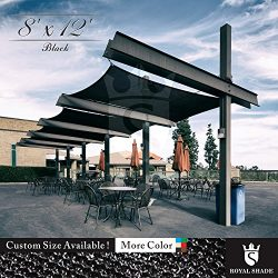 Royal Shade 8′ x 12′ Black Rectangle Sun Shade Sail Canopy Outdoor Patio Fabric Shel ...
