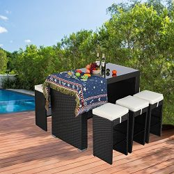 Do4U 7-Piece Outdoor Rattan Wicker Bar Dining Patio Furniture Set w/Glass Table Top, 6 Stools(Ex ...