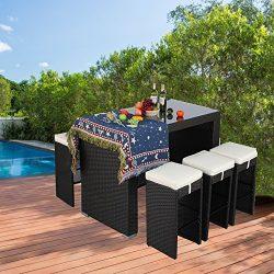 Do4U 7-Piece Outdoor Rattan Wicker Bar Dining Patio Furniture Set w/Glass Table Top, 6 Stools(Ex ...