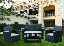 GREARDEN 4 Pieces Conversational Outdoor Furniture Complete Patio Cushion Wicker Rattan Garden S ...