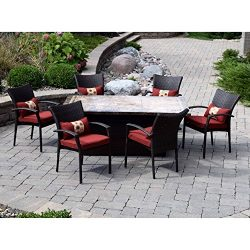 Outdoor Innovations 7 Piece South Beach Red Fire Dining Set, Coffee Bean Wicker