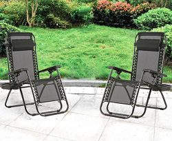 Zero Gravity Chairs Case Of 2 Black Lounge Patio Chairs Outdoor Yard Beach with Cup Holder