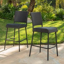 Sandy Point Patio Furniture ~ Wicker Outdoor Bar Stool (Set of 2)