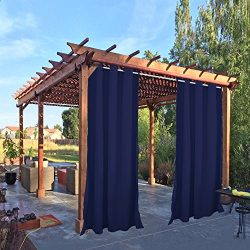 Pro Space Outdoor Dark Blue Drape and Curtain 50×108-Inch for Pergola Thermal Insulated Bla ...