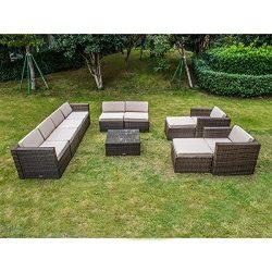 MAGIC UNION Outdoor Patio PE Rattan Wicker Cushion Furniture Patio Furniture 11 Pieces Sofa Set