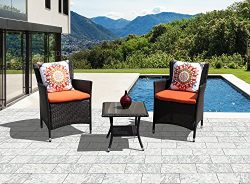 PATIOROMA Patio Furniture Set, Weather Resistant Outdoor Conversation Sets, Rattan Furniture Cus ...