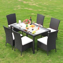 BeAllure Dinning Sets Outdoor Rattan Furniture Dinning Table Chairs With Cotton Cushions 7 Piece ...
