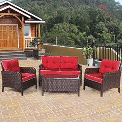 TANGKULA 4 PCS Patio Furniture Outdoor Rattan Wicker Sofa Comfortable Cushioned Seat Garden Lawn ...