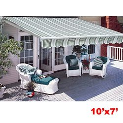 CO-Z Manual Patio Shade Retractable Deck Awning Sun Shade Shelter Canopy (10′ x 7′)