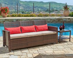 Suncrown Outdoor Furniture Patio Sofa Couch (Seats 3) Garden, Backyard, Porch or Pool   All-Weat ...