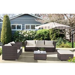 Uenjoy 7PC Outdoor Rattan Wicker Patio Furniture Set Cushioned Sofa & Table Garden Lawn Brown
