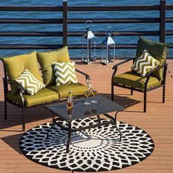 Iusun 4 Pieces Patio Iron Furniture Sets with Single Chair Double Chair Coffee Table for Indoor  ...