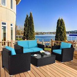 TANGKULA 4PC Patio Rattan Sofa Outdoor Garden Modern PE Wicker Rattan Sofa Conversation Furnitur ...