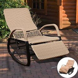 Sundale Outdoor Indoor Wicker Rattan Rocking Chair with Cushion Zero Gravity Lounge Chair Vintag ...