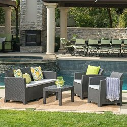 Great Deal Furniture Jacob Outdoor 4 Piece Charcoal Faux Wicker Rattan Style Chat Set with Light ...