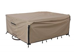 Rectangular/Oval Patio Heavy Duty Table Cover 600D Tough Canvas 100% Waterproof & UV-resista ...