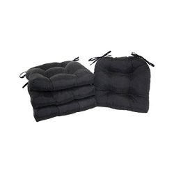 unbrand Set of 4 Chair Cushion Seat Pad Patio Outdoor Garden Dining Furniture with Ties (Black)