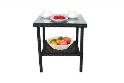 Outdoor Indoor Garden Furniture Wicker Rattan Coffee Side Table with Tempered Glass Top Patio Ta ...