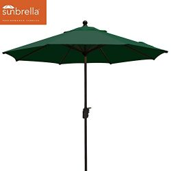 EliteShade Sunbrella 9Ft Market Umbrella Patio Outdoor Table Umbrella with Ventilation (Forest G ...