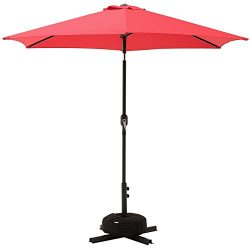 SUPERJARE Outdoor Umbrella w/Sandbag and Cross Base, 9 Ft Patio Market Table Umbrella for Garden ...