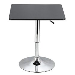 Yaheetech Adjustable High Bar Table Pub Table Square Black MDF Top with Silver Leg Base 27.6-35. ...