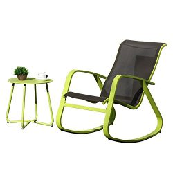 Grand patio Rocking Chair and Round Bistro Table,1 Set,Wide Lemon Green Aluminum Steel Frames,fo ...