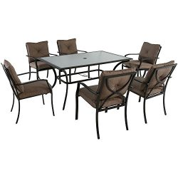 Hanover PALMBAYDN7PC-TAN Palm Bay 7-Piece Set with Six Cushioned Dining Chairs and Tempered Glas ...