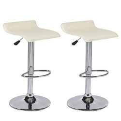 Mecor Leather barstools Adjustable Swivel Bar Chairs,Set of 2,Cream