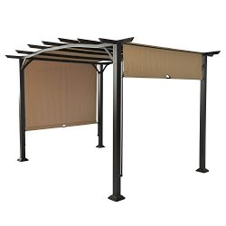 LCH 12 x 9 Ft Pergola Outdoor Steel Frame Patio Sunshlter Retractable Canopy Shades for Garden o ...