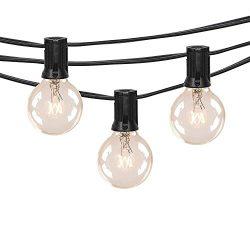 25Ft Outdoor Patio String Lights with 25 Clear G40 Globe Light Bulbs, UL Certified for Porch Bac ...