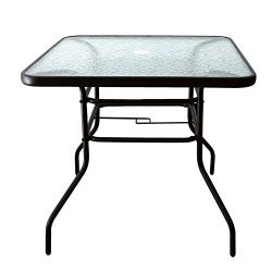 AOODA 31.5″ Patio Table Dining Table Umbrella Stand Table with Tempered Glass Top Patio Bi ...