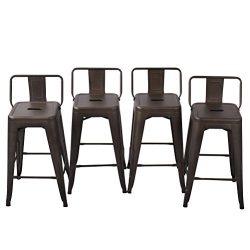 Tongli Metal Barstools Set Industrial Counter Stool (Pack of 4) Patio Dining Chair Bronze Low Ba ...