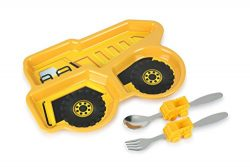 KidsFunwares Me Time Meal Set (Dump Truck) – 3-Piece Set for Kids and Toddlers – Plate, Fork and ...