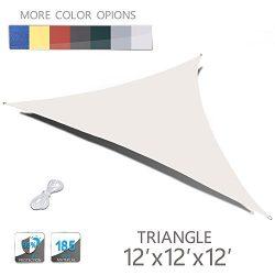 Love Story 12′ x 12′ x 12′ Triangle Cream UV Block Sun Shade Sail Perfect for  ...