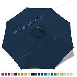 ABCCANOPY 23+ colors 9ft Market Umbrella Replacement Canopy 8 Ribs (navy blue)