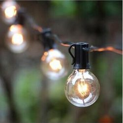 Kanzd Outdoor Garden String Lights 25ft LED Garden Patio Outside String Lights (Black)