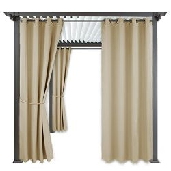 Indoor Outdoor Blackout Privacy Curtain – RYB HOME Sliver Ring Grommet Top Home Décor Curt ...