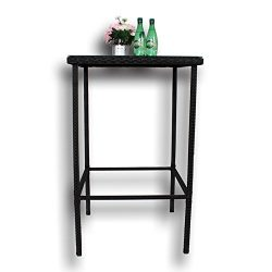 Patio Rattan Bar Table High Leg Suqare Bar Table Match Bar Stools Outdoor Garden Dining Table Bl ...
