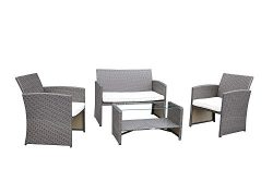 Garden Bean 4 PC Rattan Patio Wicker Garden Lawn Sofa Cushioned Seat Furniture Set (Brown)