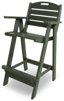 POLYWOOD NCB46GR Nautical Bar Chair, Green