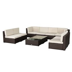U-MAX 7 Piece 7-12 Pieces Patio PE Rattan Wicker Sofa Sectional Furniture Set (10-Pieces, Brown)