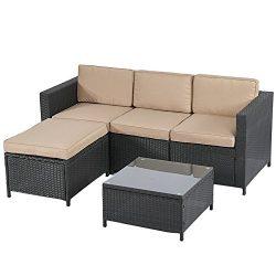 BestMassage Outdoor Patio Furniture Set, 5pcs Rattan Wicker Sofa Garden Conversation Set Cushion ...